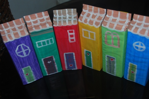 painted houses by kiddos and me!